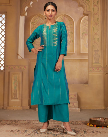 Cotton Chandheri Kurta with Plazzo