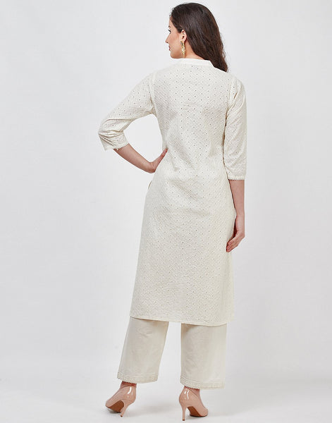 Cream Cotton Kurti with Palazzo