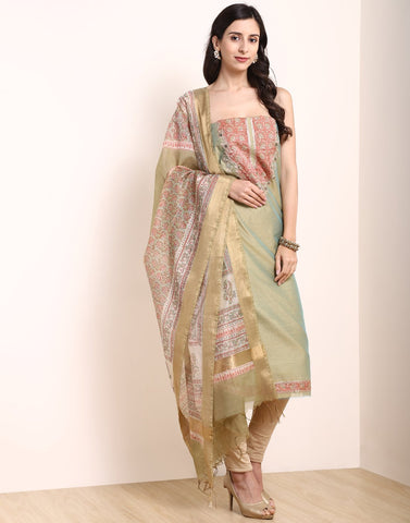 MBZ Meena Bazaar-Dusty Green Chanderi Suit Set