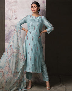 Cotton Suit Set with Digital Print Organza Dupatta