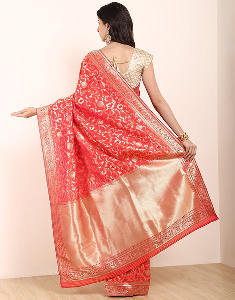 MBZ Meena Bazaar-Orange Banarasi Art Handloom Saree