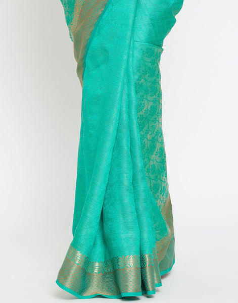 Rama Green Art Handloom Woven Saree