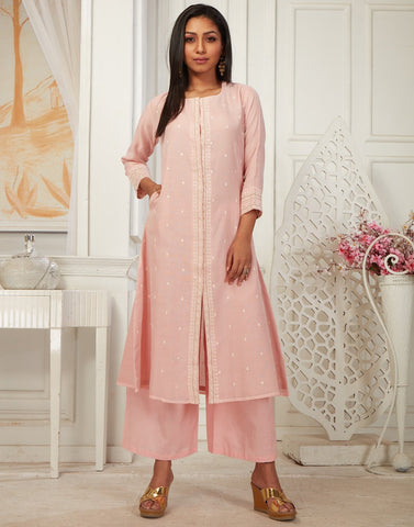 MBZ Meena Bazaar-Beautiful Chandheri Kurta with Plazzo