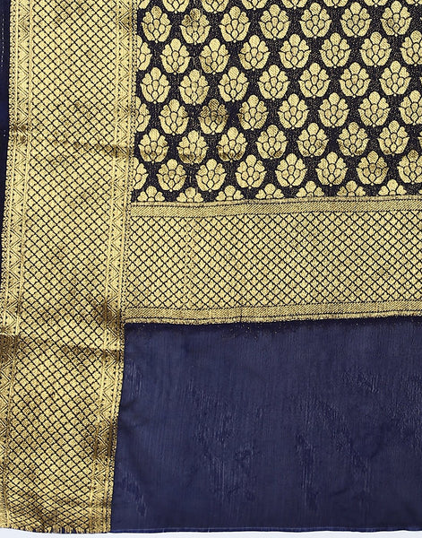 Navy Blue Art Crepe Saree