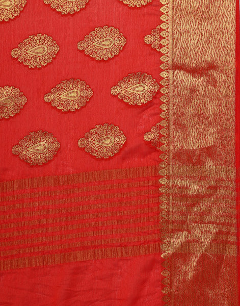 Red Art Crape Saree