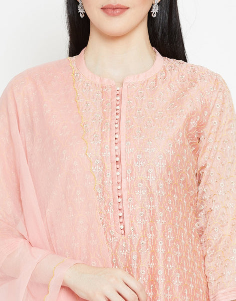 Pink Cotton Chanderi Salwar Kameez