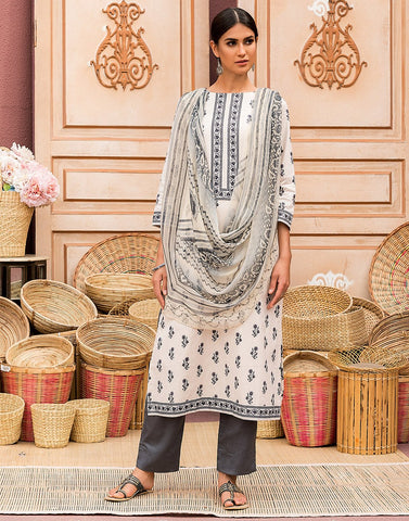 Cotton Printed Suit Set With Chiffon Digital Print Dupatta