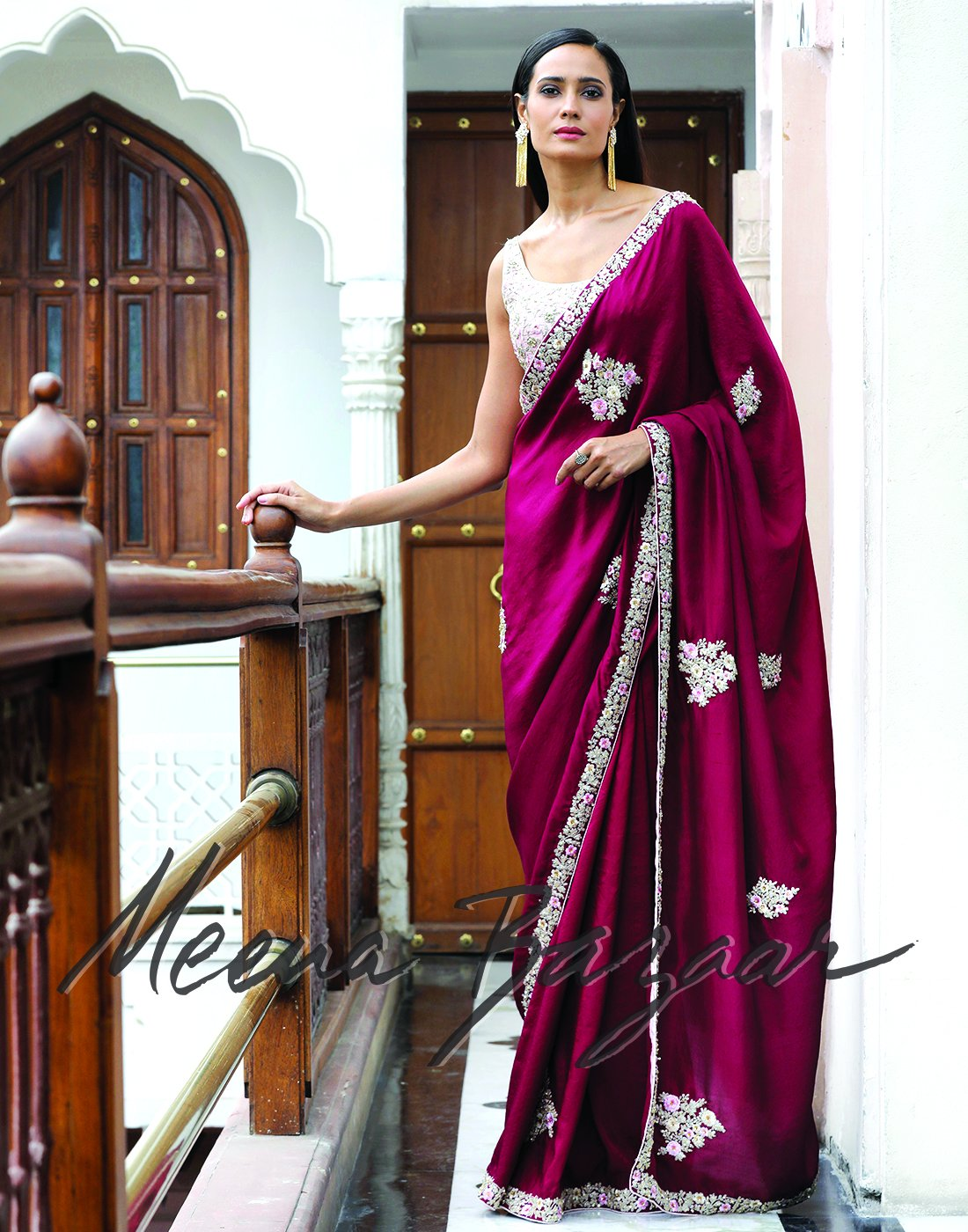 Meena Bazaar: Wine colour embroidered saree on silk fabric