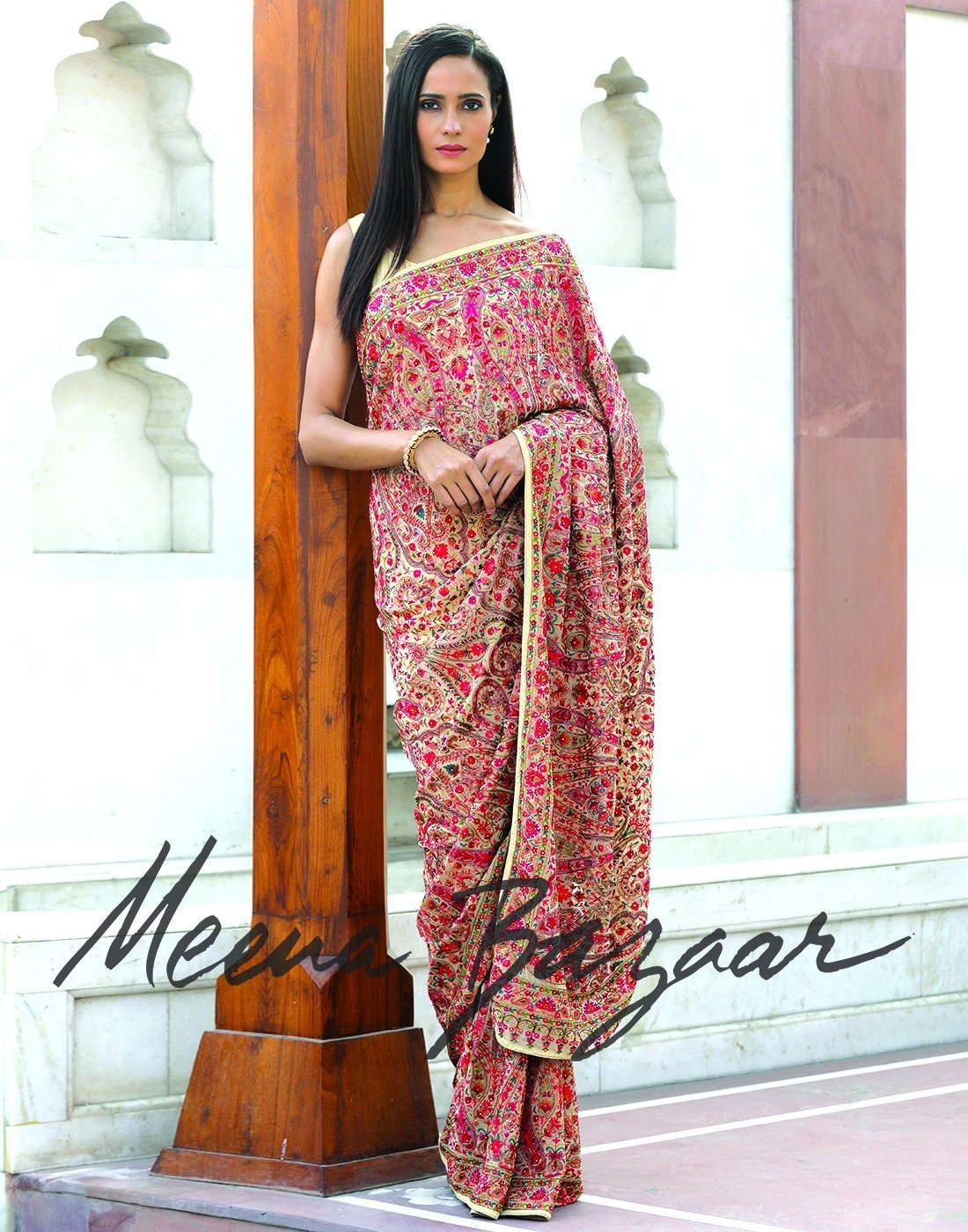 Meena bazaar: Georgette saree with multi-colour embroidery