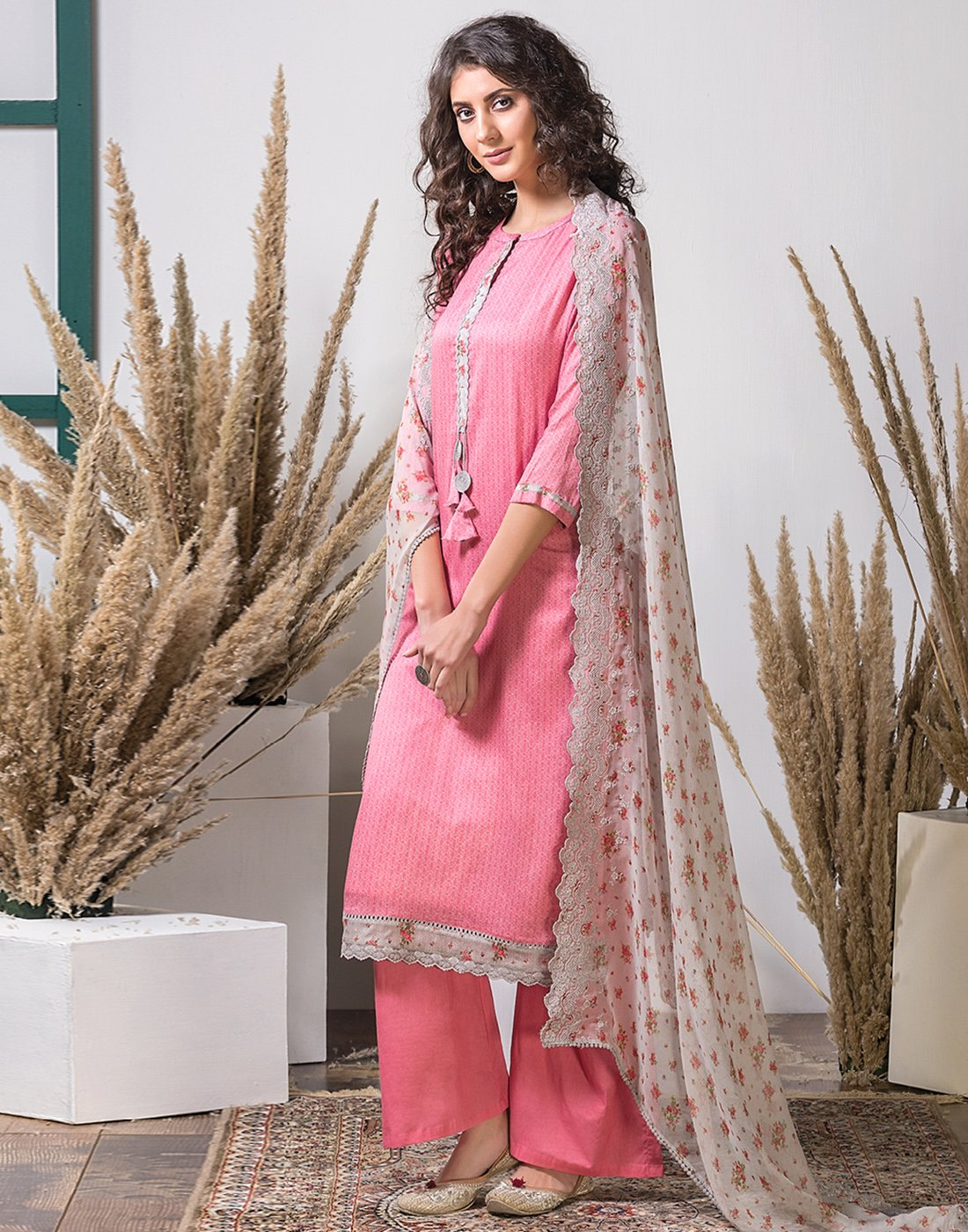 Cotton Suit Set With Floral Organza Dupatta
