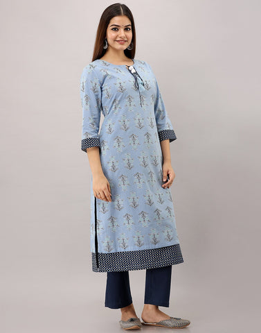 MBZ Meena Bazaar-Cotton Printed Kurti with Double Layered Silhouette