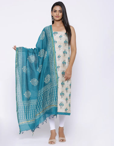 MBZ Meena Bazaar-Floral Printed Art Tussar Suit Set with Chanderi Dupatta