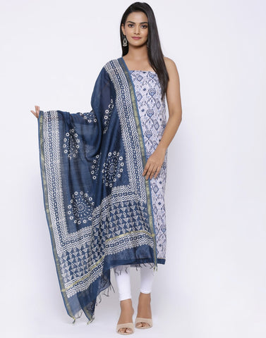 MBZ Meena Bazaar-Abstract Print Suit Set with Chanderi Printed Dupatta