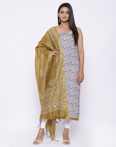 MBZ Meena Bazaar-Printed Art Silk Suit Set with Chanderi Printed Dupatta
