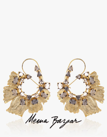 Gold Earrings with Grey Stones