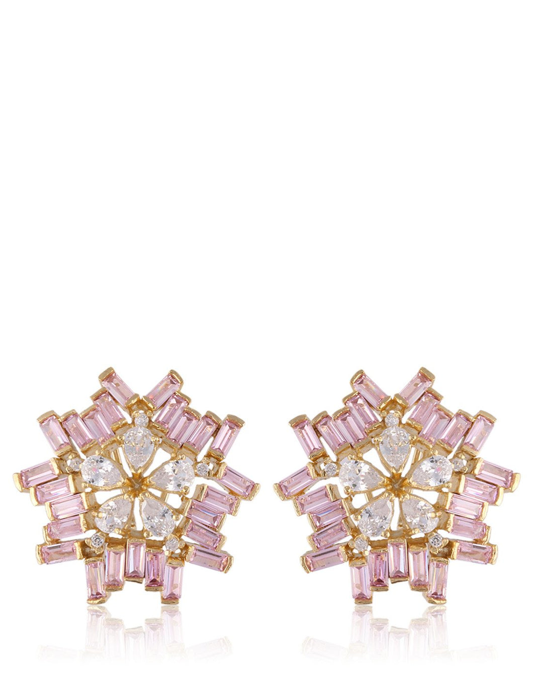 Geometrical Flower Earrings Studded With American Colored Stones & Diamonds By Meena Bazaar