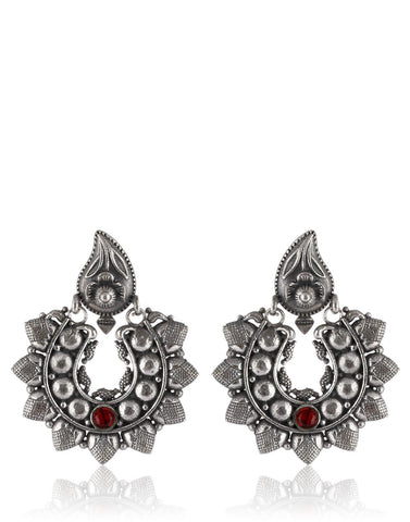 Oxidised Silver Earrings With Semi-Precious Colored Stone By Meena Bazaar