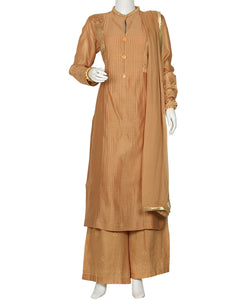 Beige Cotton Chanderi Salwar Kameez