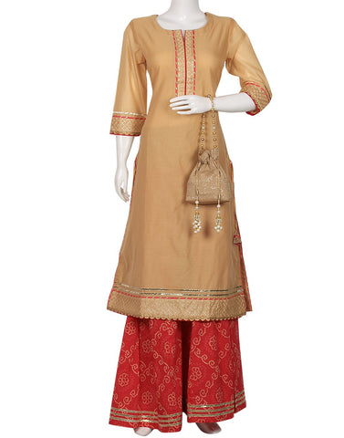 Beige & Red Cotton Chanderi Kurti With Palazzo