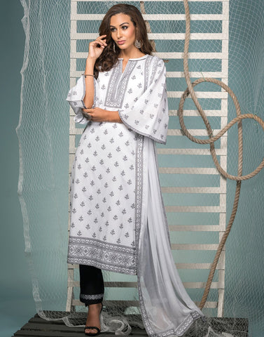 Cotton Digital Printed Suit Set With Chiffon Dupatta