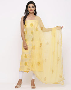 MBZ Meena Bazaar-Chanderi Printed Suit Set with Chiffon Dupatta