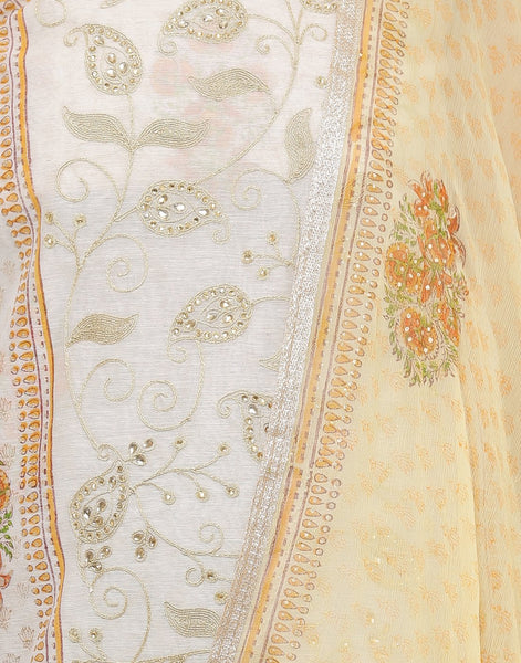 MBZ Meena Bazaar-Embroidered Chanderi Suit Set with Stone Work
