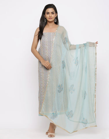 Emroidered Cotton Suit with Gota Work