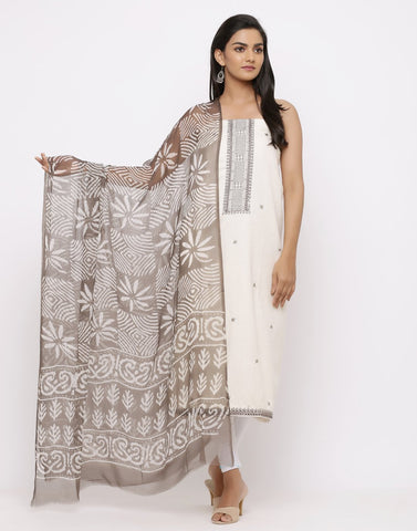 Embroidered Khadi Suit Set with Chiffon Dabu Printed Dupatta