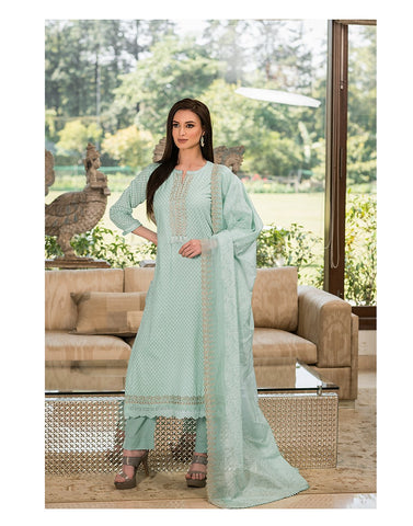 Cotton Khadi Print Suit Set with Zari Neckline