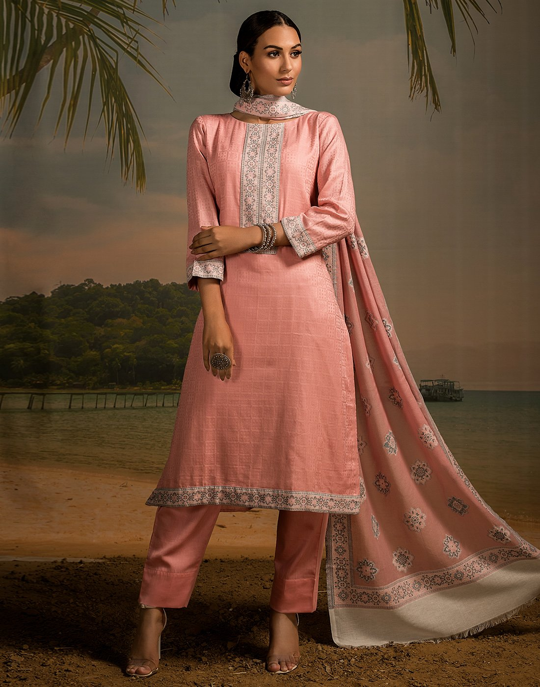 Cotton Jacquard Neck Patti Suit Set with Bordered Printed Dupatta