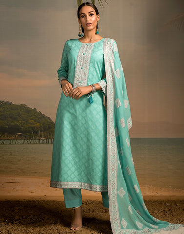 Cotton Jacquard Neck Patti Suit Set with Bordered Dupatta