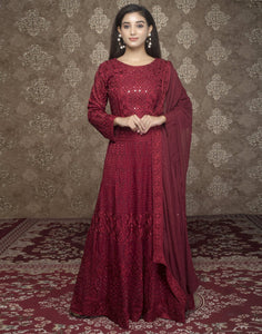 Georgette Embroidered Long Anarkali