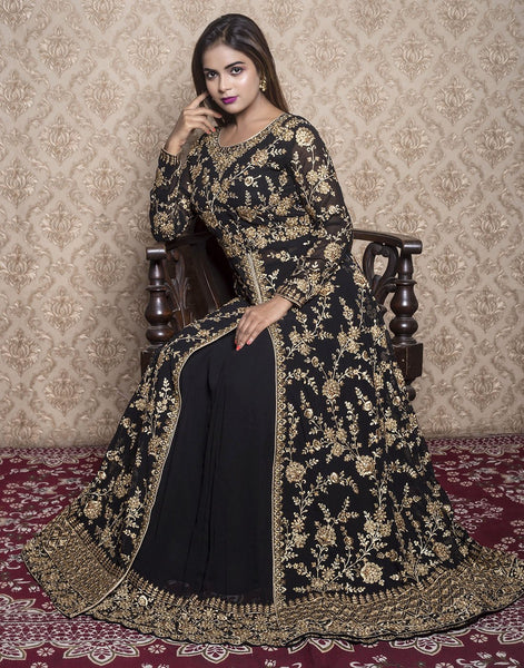 georgette embroidered long anarkali with skirt