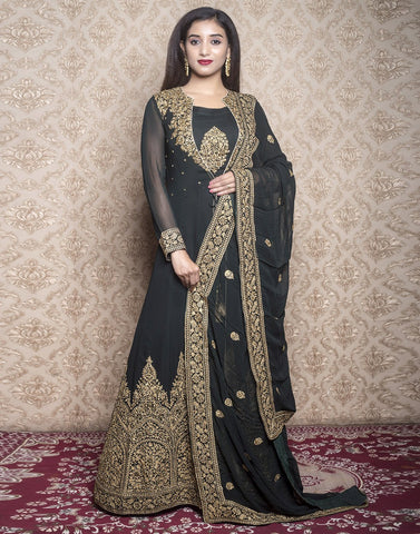 georgette embroidered long anarkali with long jacket