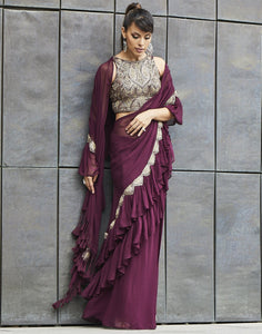 MBZ Meena Bazaar-Wine Ruffle Saree Gown With Attached Drape