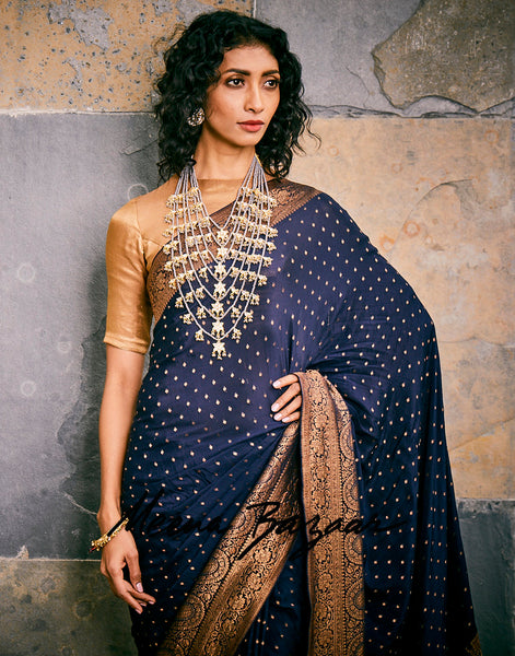 Navy Blue Woven Crape Plain Saree