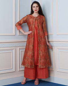 Orange Cotton Chanderi Kurti