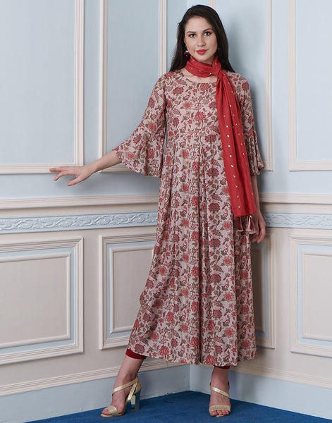 Dusty Pink Cotton Kurti