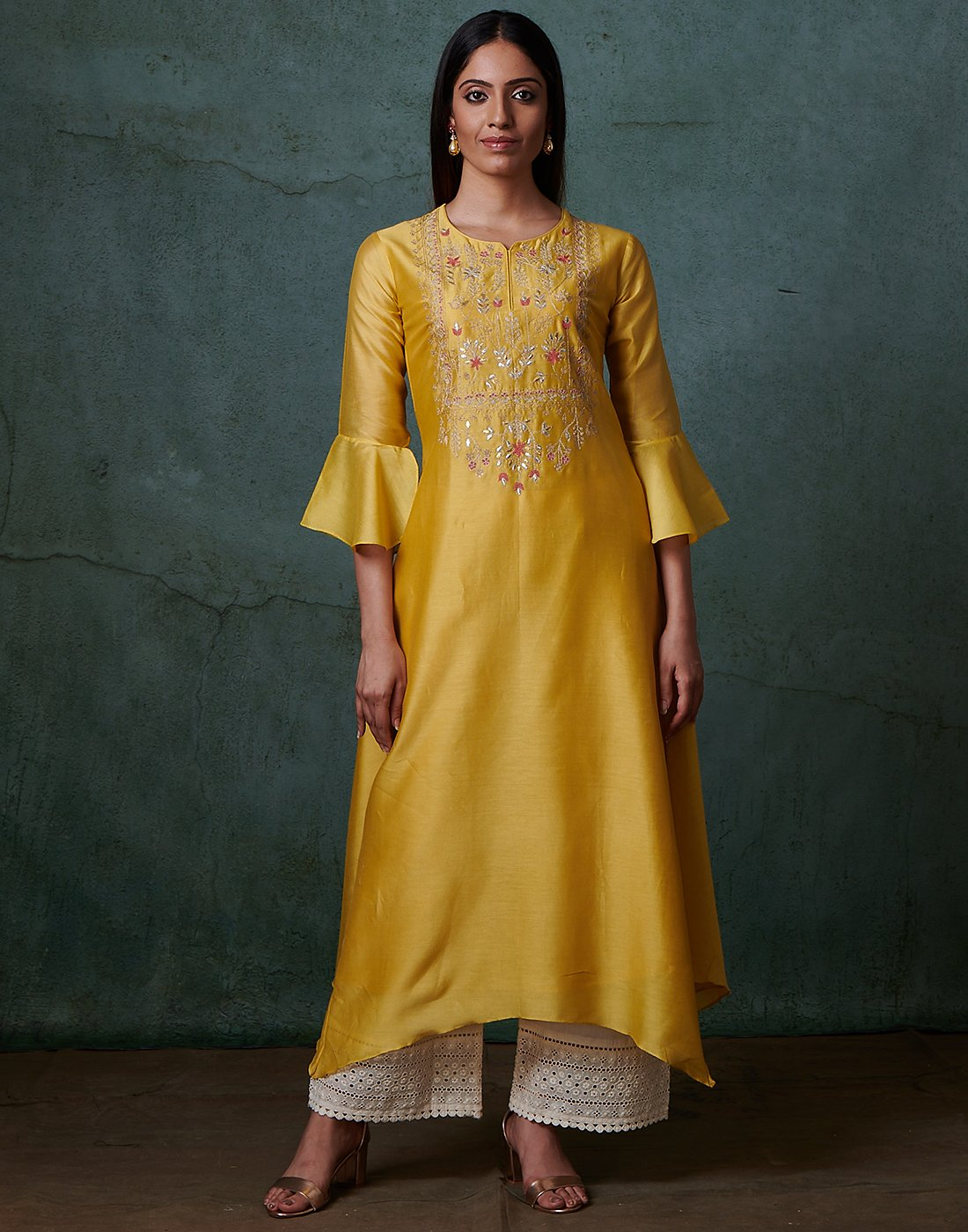 Mustard Cotton Chanderi Kurti