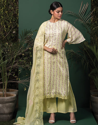Cotton Floral Digital Printed Suit Set with Chiffon Embroidery Dupatta