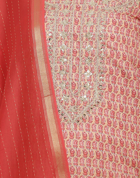 MBZ Meena Bazaar-Art Silk Printed Suit Set with Zari Sequin Work