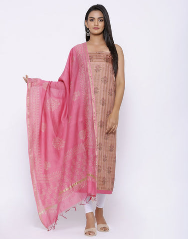 MBZ Meena Bazaar-Printed Art Tussar Suit Set with Chanderi Dupatta