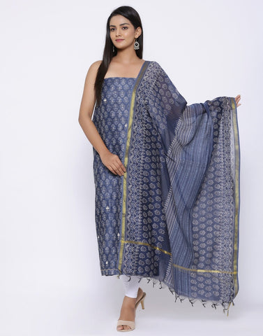Embroidered Chanderi Suit Set with Printed Dupatta