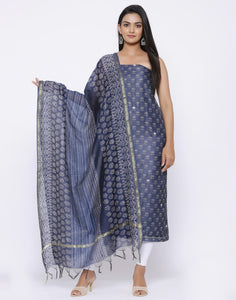 Chanderi Suit Set with Printed Dupatta