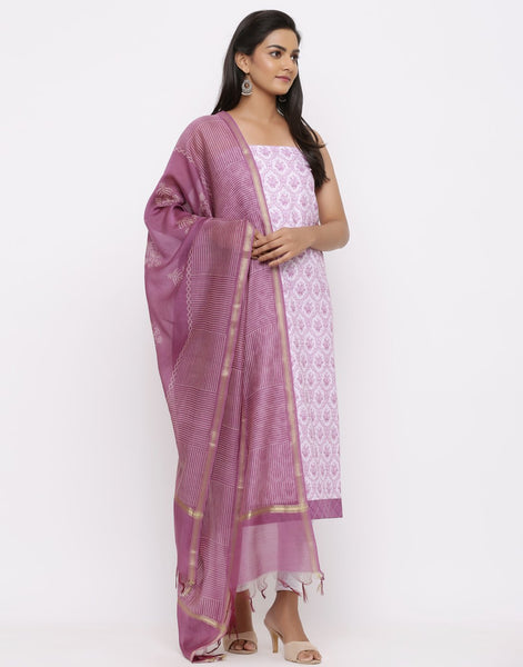 MBZ Meena Bazaar-Cotton Printed  Suit Set With Cotton Chanderi Dupatta