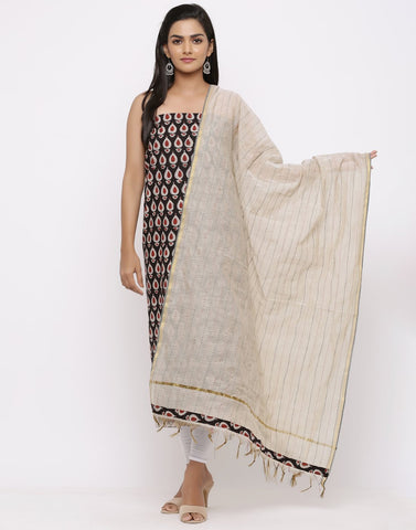 MBZ Meena Bazaar-Cotton Bagru Print Suit Set with Kantha  Dupatta