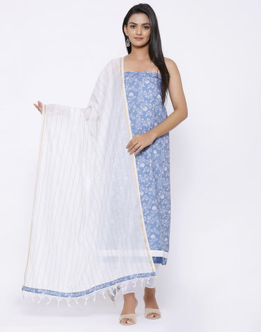 MBZ Meena Bazaar-Jaquard Printed Suit Set with Chanderi Dupatta