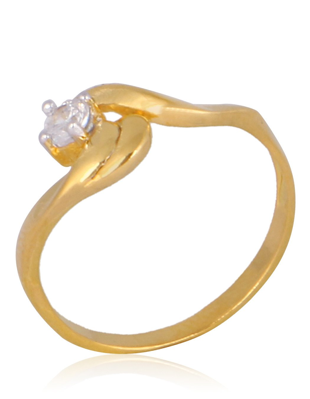 American Diamond Studded Ring in Gold Finish By Meena Bazaar