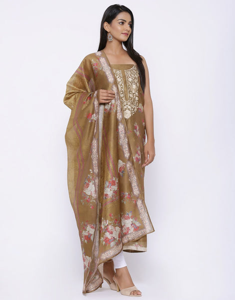 MBZ Meena Bazaar-Embroidered Chanderi Suit Set with Printed Dupatta