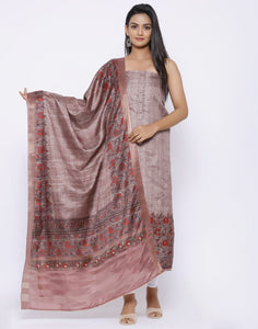 MBZ Meena Bazaar-Art Silk Suit Set with Printed Dupatta
